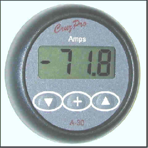 Round A30 Amps Gauge