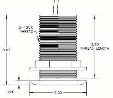THDT-4 bronze transducer dimensions